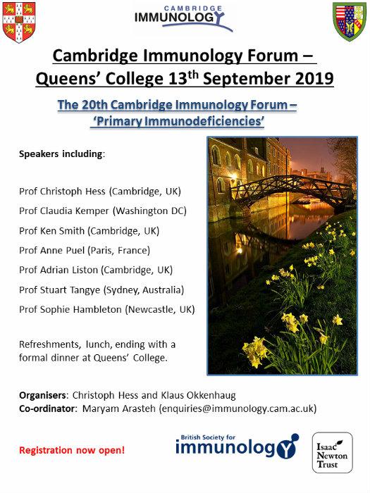 20th Cambridge Immunology Forum: Primary Immunodeficiencies